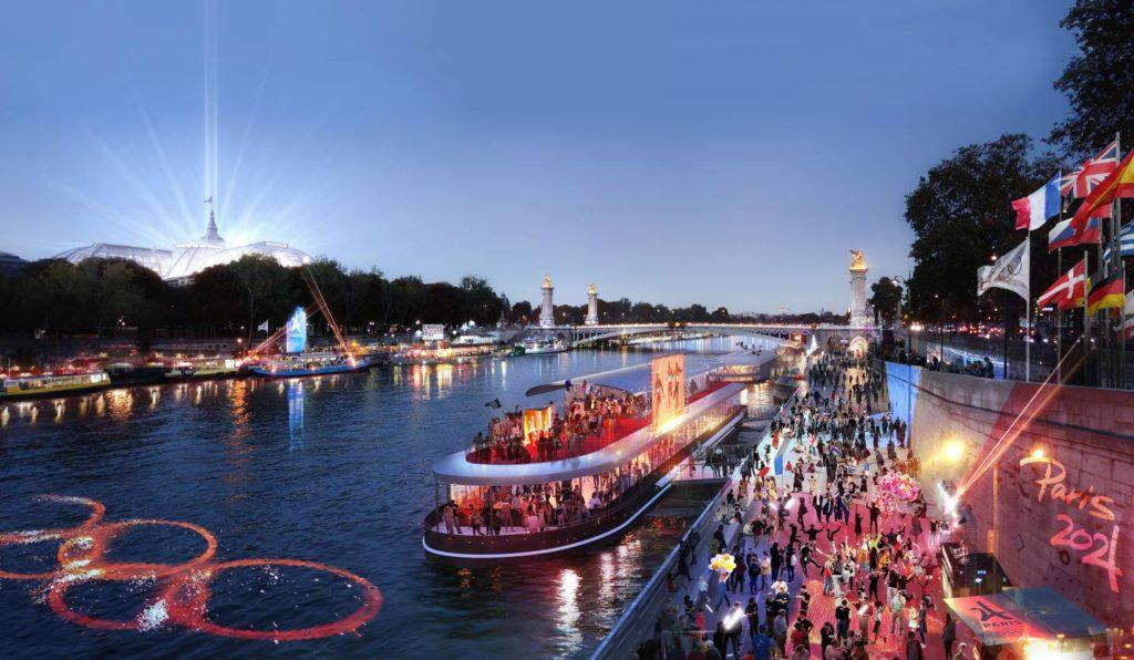 Paris river at night